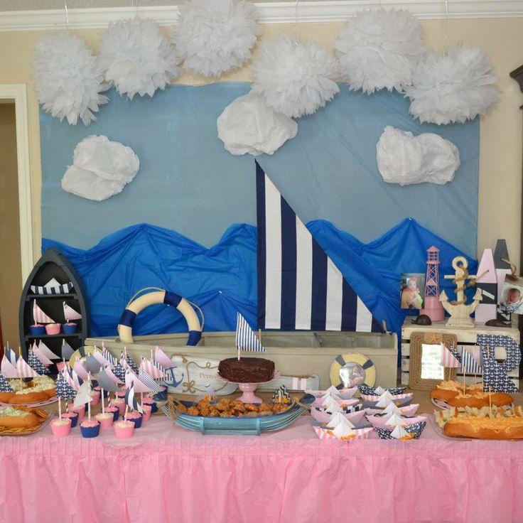 Pink Navy Nautical 1st Birthday Party Ideas