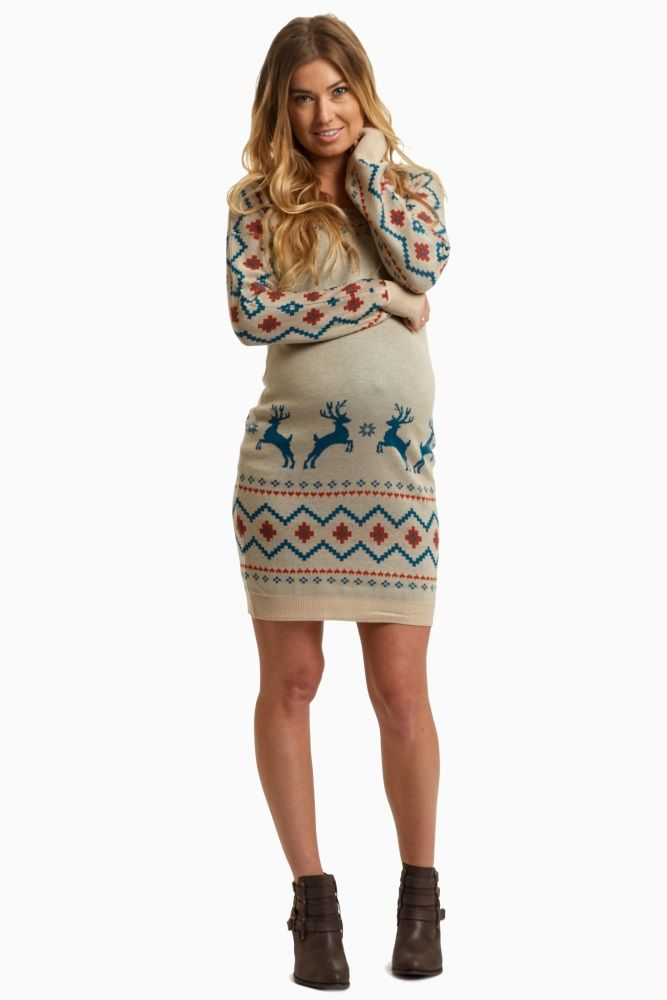 This should be the maternity sweater dress you wear to every holiday party. A reindeer print for a festive detail and a fitted style to show off your growing bump.