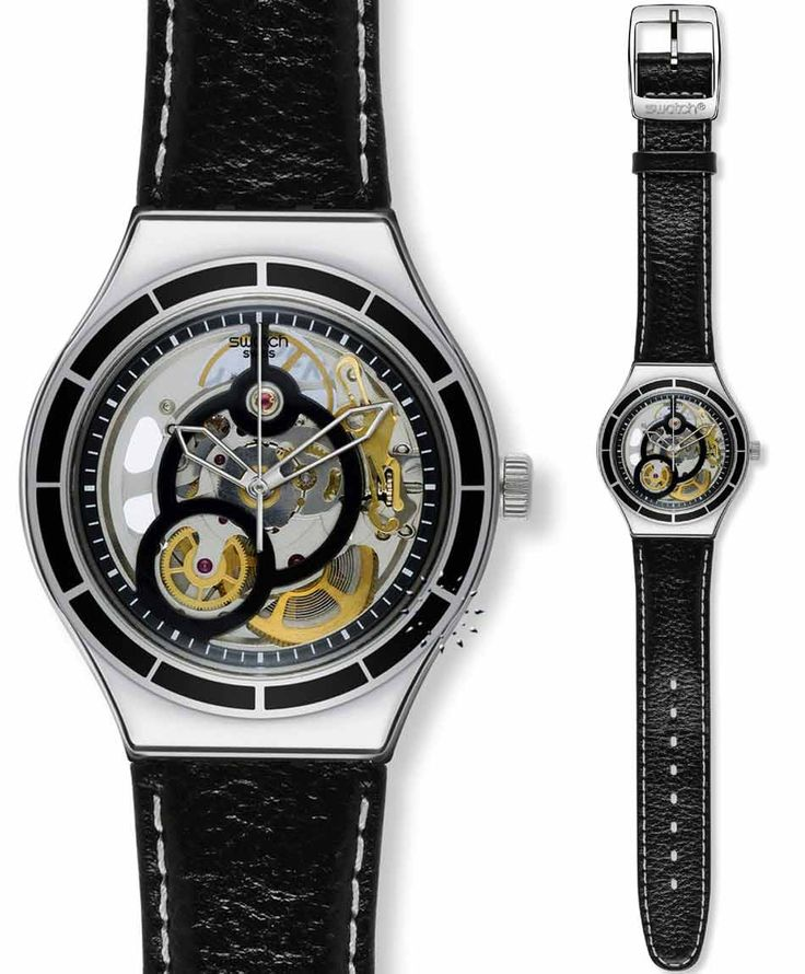 SWATCH Introspective Automatic Black Leather Strap Τιμή: 130€ http://www.oroloi.gr/product_info.php?products_id=35185