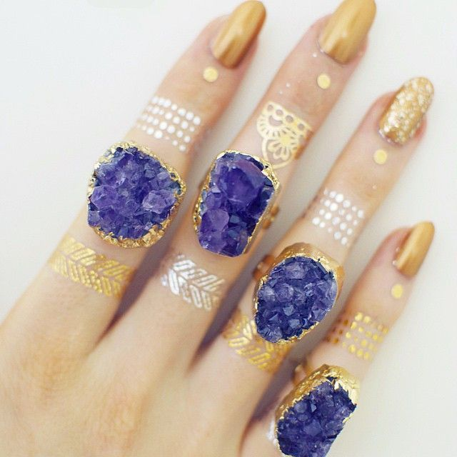 'Starlight' purple druzy amethyst ring