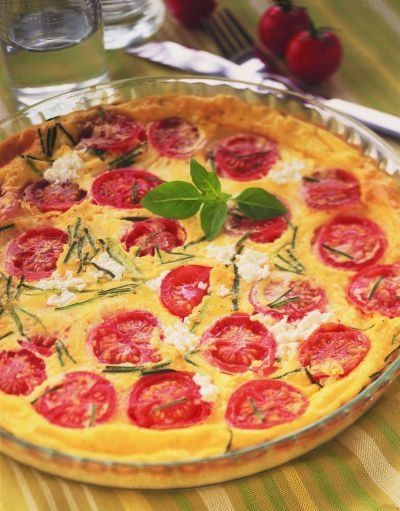 Recette minceur : Clafoutis au chèvre frais, courgettes et tomates cerise
