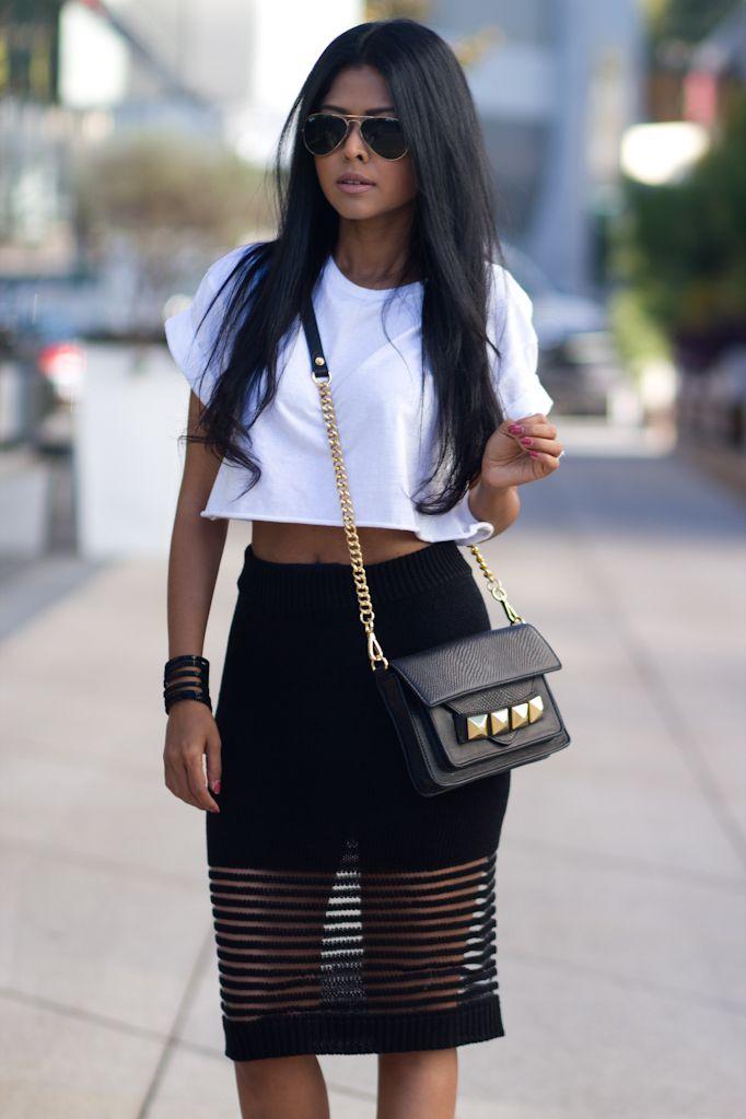 white crop top, black skirt #walkinwonderland