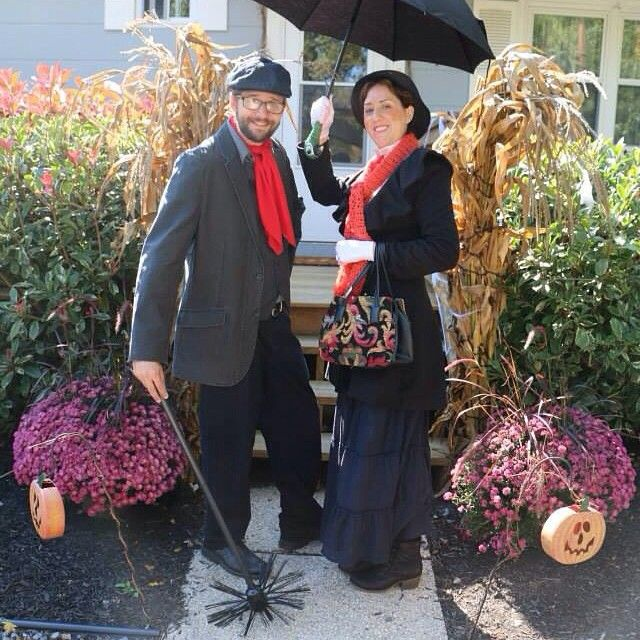 """""""Chim chimney, chim chimney, chim chim chimcheree, when you're with a sweep, you're in glad company."""" Beautiful NerdPoppins customer @laurensuit and her Bert getting ready for their hometown's Halloween parade. Don't they look fantastic?! Thank you for the photos, Lauren! #nerdpoppins #etsy #marypoppins #halloween #halloweencostume #marypoppinscostume #marypoppinscosplay #disnerd #chimcheree #stepintime #practicallyperfect #jollyholiday #poppinsnerd"""
