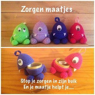 Kijk wat ik gevonden heb op Freubelweb.nl: patroon om kleine zorgenvriendjes te maken van Made by Eli http://www.freubelweb.nl/freubel-zelf/zelf-maken-met-haakkatoen-zorgenvriendjes/