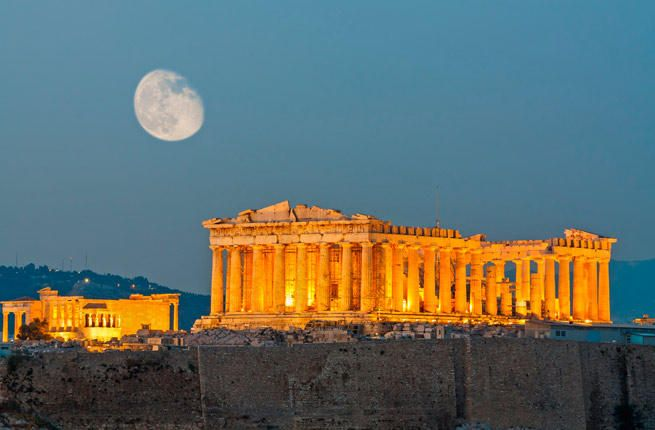 """ACROPOLIS Crowning the city of Athens, the """"High City"""". Built 461-429 B.C., under Athenian statesman Pericles, site comprises the Parthenon, the Temple of Athena Nike, the Propylaea and the Erechtheion. Dedicated to Athena.                                                                                    ..."""