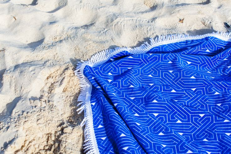 new round beach towels: NY in dazzling blue
