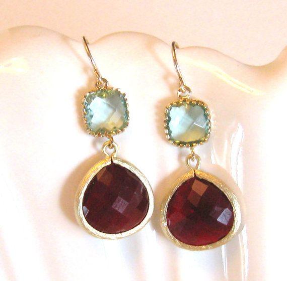 Garnet Red Earrings Aqua Earring Gold Earrings by LoveShineBridal