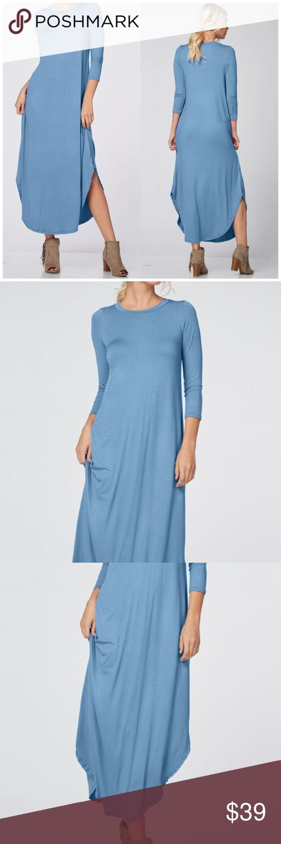 3/4 Sleeve Denim Blue Maxi Dress 3/4 Sleeve Denim blue Maxi Dress featuring a round neckline and hemline. 2 side slits for an added sexy touch. 95% Rayon 5% spandex. Fits true to size. Available in mauve also Bchic Dresses Maxi