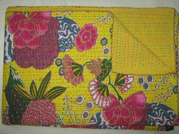 Check out this item in my Etsy shop https://www.etsy.com/listing/189995033/queen-tropicana-bedspread-kantha-quilt