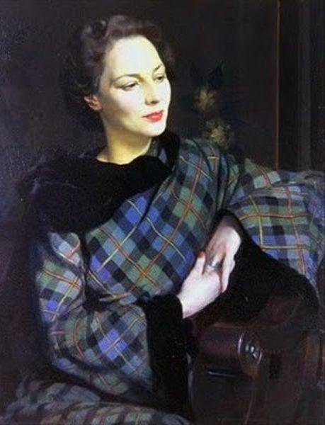 Oil on canvas painting of Pauline in the McLeod Tartan, 1946 by Sir Herbert James, Gunn (1893-1964)