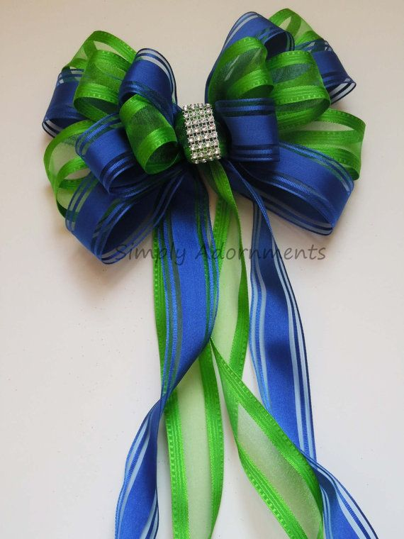 Items Similar To Blue Green Bling Wedding Pew Bow Royal Lime Church Ceremony Shower Birthday Party Decoration Gift