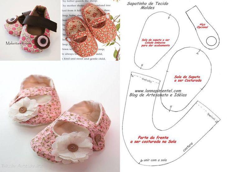 Zapatos de bebé - http://mariachelli.blogspot.com.ar/2012/11/sapatinhos-de-tecido-para-bebes.html