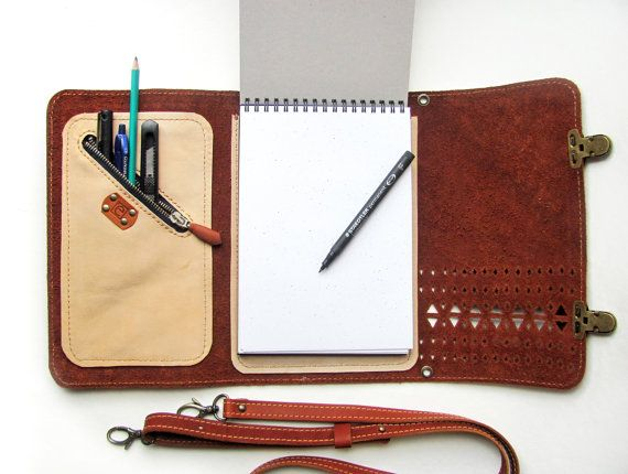 Leather sketchbook case with pen holder and cross by erikasleather, $88.00- Such a good idea!