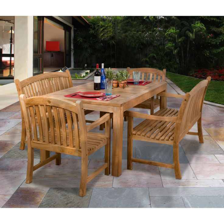 Outdoor Amazonia Geneve Teak Chair and Bench Dining Set - Seats 6 - SC GENEVE