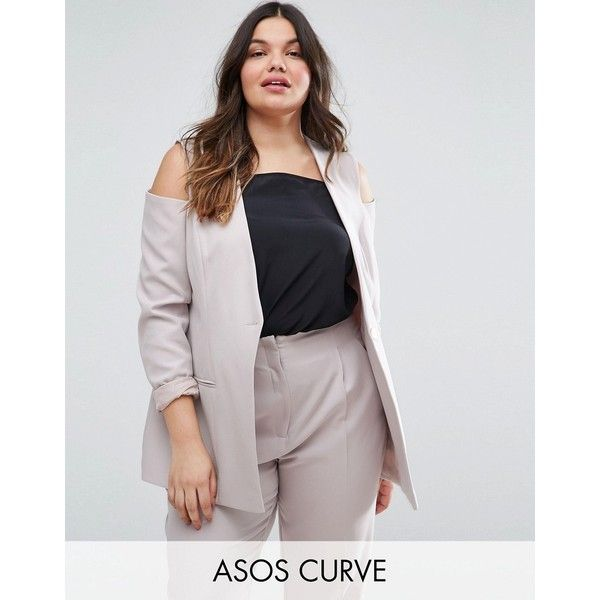 ASOS CURVE Cold Shoulder Blazer (€58) ❤ liked on Polyvore featuring outerwear, jackets, blazers, plus size, silver, pocket jacket, asos curve, plus size blazers, button blazer and women's plus size blazers