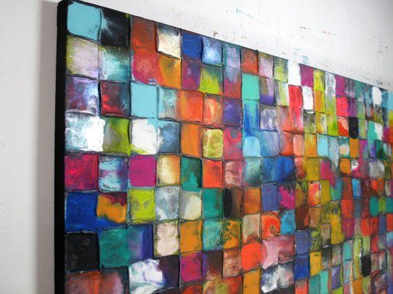 Handbemalt, Original Kunstwerk auf Leinwand - kostenloser Versand für eine begrenzte Zeit.  Die Grafik-details Titel: Razzle Dazzle Gesamtgröße: 180x90x5cm (ca. 72x36x1.8 ) Farben: Mehrere helle Farbe Glasuren und silbernen highlights Gestaltung: Schwergewicht & gestreckt tief umrandeten (5cm) Leinwand. Fertig zum Aufhängen. Keine Rahmung erforderlich. Material: Acryl, Mischtechnik von: Caroline Ashwood (signierte auf Rückseite) Echtheitszertifikat enthalten  Kommission Kunst:  Dies ist ein…