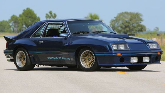 """This 1980 Ford Mustang """"GT Enduro"""" Prototype is styled to evoke IMSA racers of the period, with its wide mesh wheels and bulging fenders. With just 14k on the clock and a bevy of period performance part under the skin, this claimed one-of-three Fox body is a striking slice of early 80's nostalgia."""