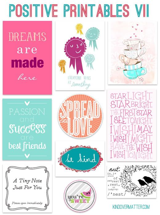 Free printables! ~ This blogger shares free printables full of positive quotes.  These can be used for all sorts of things from scrapbooking to Project Life to Smash Books to making your own cards!