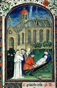 Cote :Ms 5142 Auteur : Titre :Livre d'heures à l'usage de Soissons Légende :Prêtre célébrant le rite des funérailles ; encadrement ; bordure habitée ; initiale ornée Enlumineur : Date :15e siècle Nom de l'image :Ms 5142, f. 89v