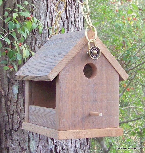 Wooden Bird House Bird Feeder, Reclaimed Wood, Natural Weathered Rough Cedar, Rustic Primitive