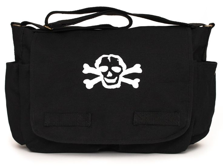 Crazy Baby Clothing Black Diaper Bag / Messenger Bag with White Skull
