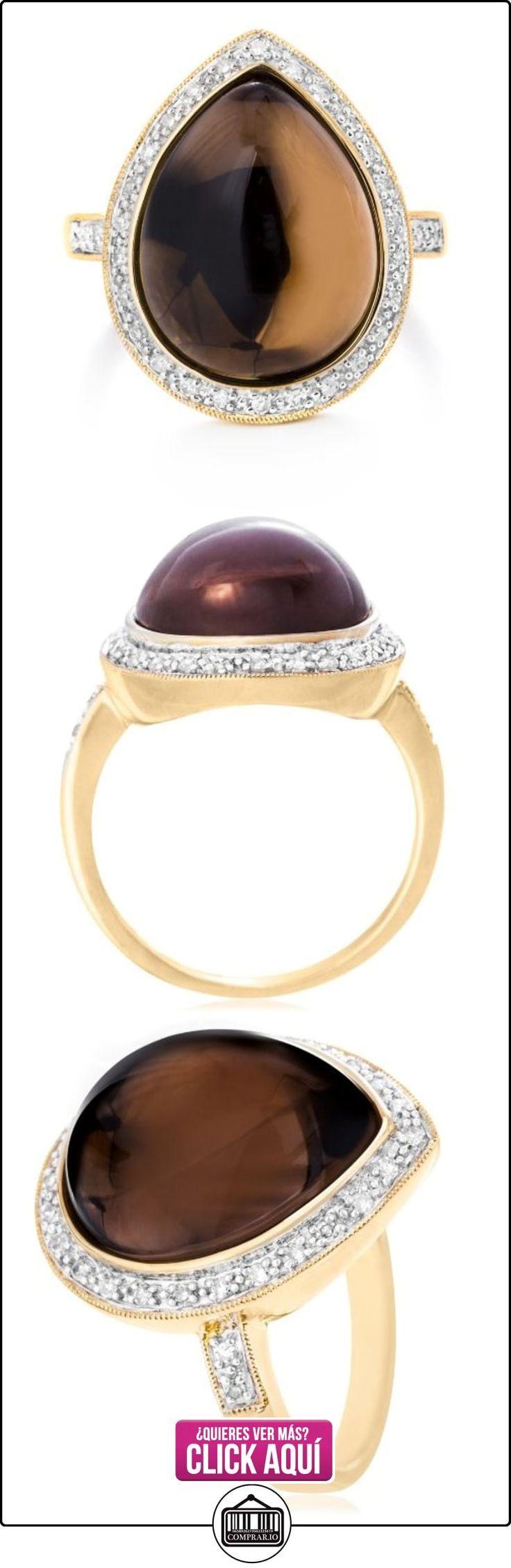 9ct oro amarillo y cuarzo ahumado y anillo de diamante de la pera  ✿ Joyas para hombres especiales - lujo ✿ ▬► Ver oferta: http://comprar.io/goto/B00DHLQ6T8