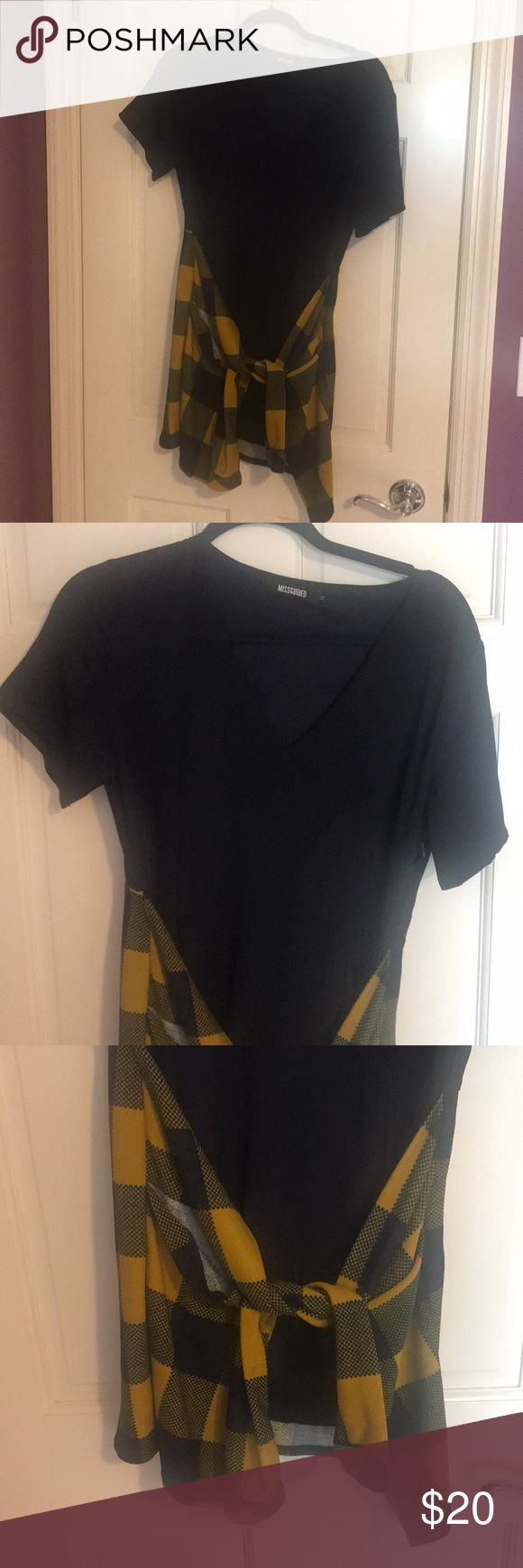 Missguided Dress with Mock Wrap Plaid Shirt Navy Missguided dress with Mock wrap plaid shirt in navy and mustard yellow. Comfy baggy fit. Barely worn. size 12. Missguided Dresses Mini