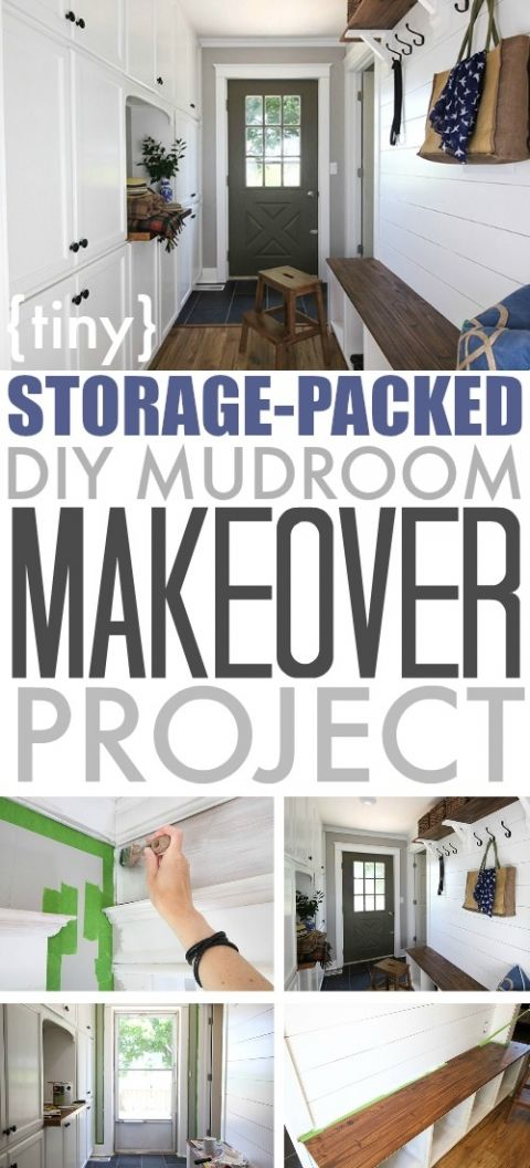 This tiny DIY mudroom is just filled with storage from top to bottom! #ad #FrogTape #2017DesignTrends