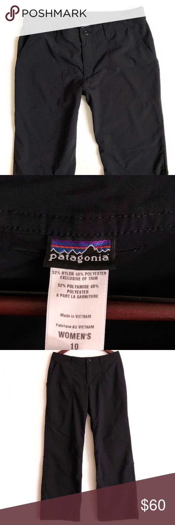 Patagonia Pant Patagonia Pant. Front side pockets. Back zipper pocket. Can be worn long or capris with side snaps. Inseam 30 inch. Great Preowned Condition 🚫No Trades🚫 Patagonia Pants