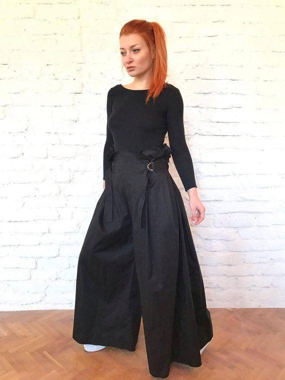 a2b1882b15d5 Japanese Pants Loose Black Pants Wrap Pants Harem Pants Wide Leg Pants Black  Trousers Samurai Avant