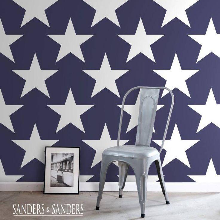 Sterren behang • Marine blauw met wit • Slaap de sterren van de ...