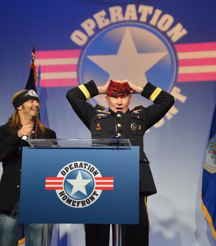 """In the spirit of #freedom check out today's Bret Michaels #FreedomToRock featured photos. Bret, who was the keynote speaker at Operation Homefront's Military Child Of The Year event and Joint Chiefs Of Staff chairman, General Martin Dempsey who sang a duet together of """"God Bless The USA"""". #America needs to rock again. - Team Bret  #military #troops #americarocks #honored #alwaysserving #sharethis #tagtwofriends #mission2honor…"""