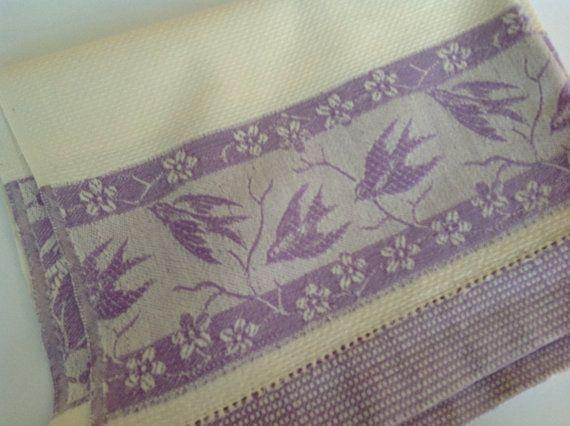 Purple tea towel NOS tea towel tea towel with birds new and