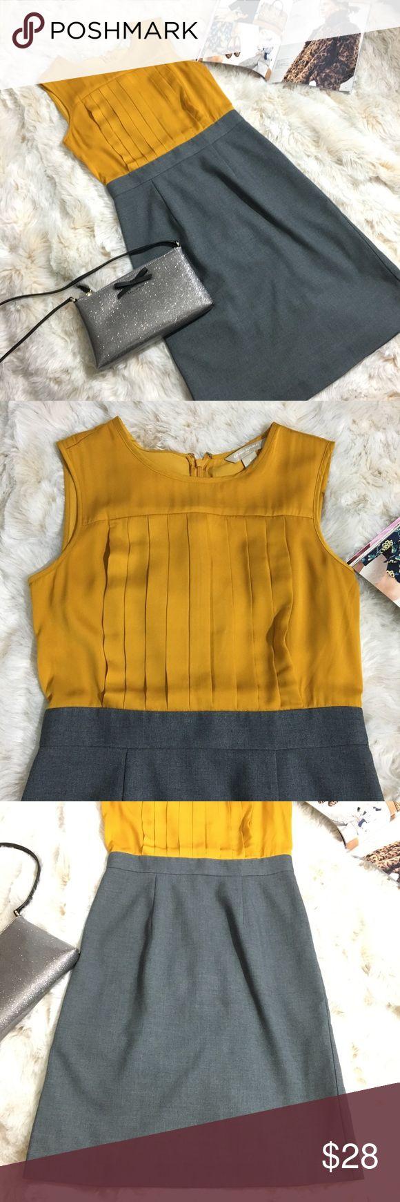 Banana Republic yellow & gray office work dress 2 Banana Republic sleeveless dre…