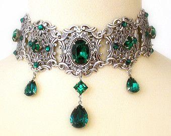 Swarovski Kristall Choker Halskette viktorianischen Choker Braut Halskette gotischen viktorianischen Schmuck Hochzeit Halskette Hochzeit Schmuck Geschenk für Frauen   – Antiker Schmuck