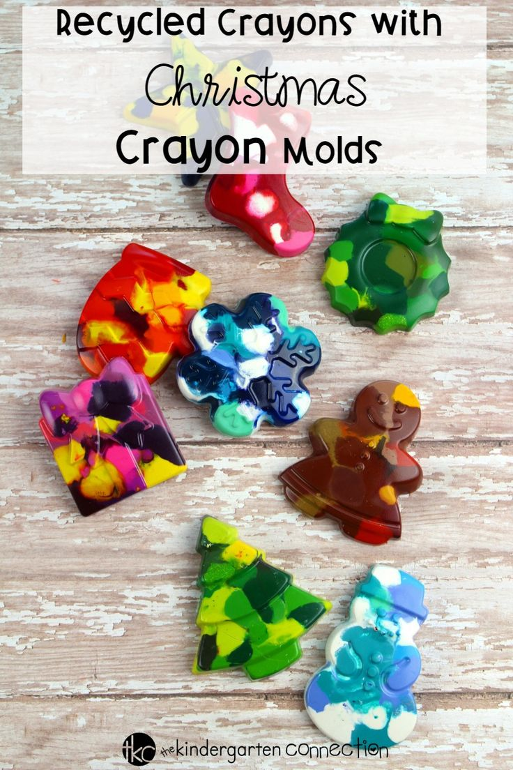 Try this Recycled Crayons with Christmas Crayon Molds activity with your children and create beautiful Christmas coloring pages this holiday season! #christmascrafts #kindergarten #iteachtoo #preschool