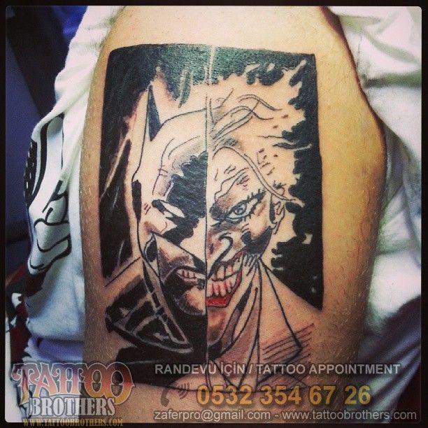 Batman & Joker Dövmesi  Batman & Joker Tattoo - Tattoo Brothers Moda Randevu için GSM - Whatsapp:  0532 354 67 26