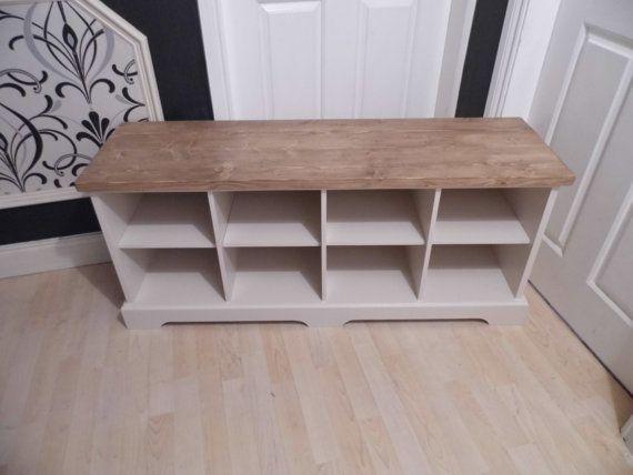 Handmade shabby chic shoe storage bench by KiggypipsFurniture