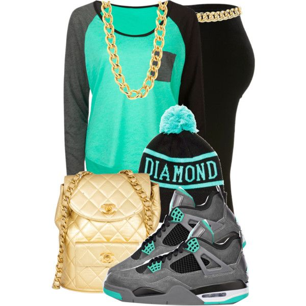 Aqua/Gray T-Shirt, Gold Chain/Bag, Black Tights, Diamond Supply Co. Beanie, Jordans