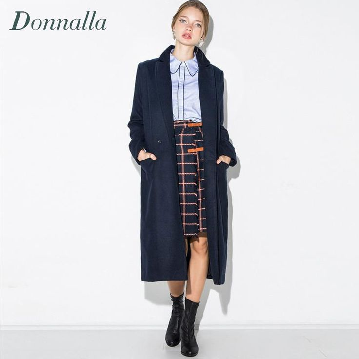 >> Click to Buy << Winter Wool Coat Women Long Outwear Navy Blue Woolen Trench Thick Long Sleeve Thick Warm Winter Wool Coat Lapel Woman Clothes #Affiliate