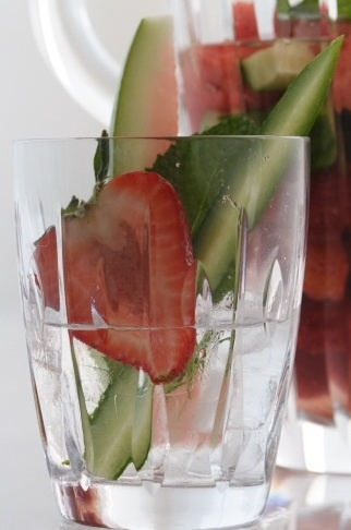 Strawberry Cucumber Watermelon & Mint Spa Water