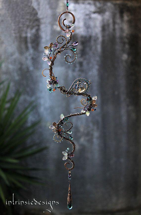 BLUE WREN BOUQUET.... Suncatcher with loads of Gemstones, Swarovski Crystal and Mixed Metals