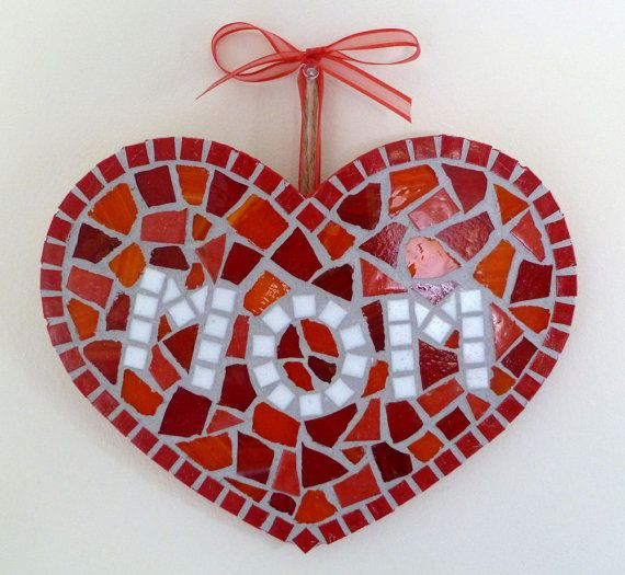 Mosaic heart MOM great gift Mothers Day stained by SunAndCraft, $19.99