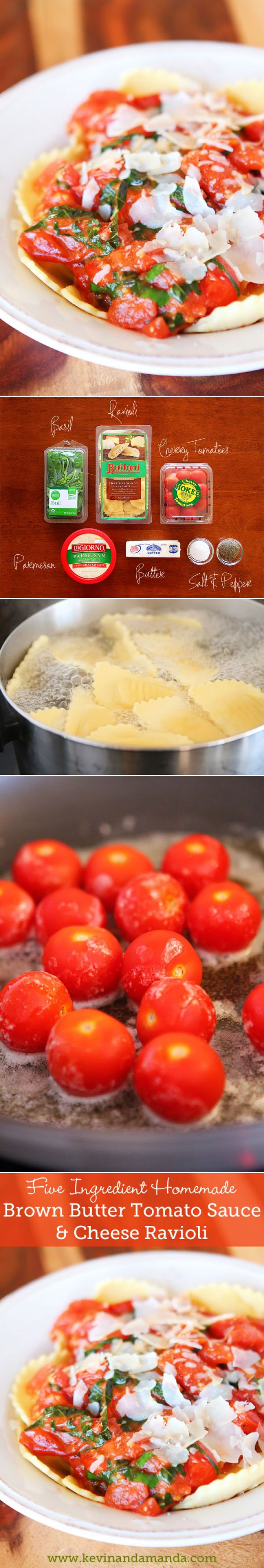 Most authentic tomato sauce ever. Use only tomatoes, basil, butter, salt and pepper. Takes less than 10 mins. Serve over ravioli for a perfect dinner.