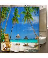 Tropical Beach Custom Print On Polyester Shower... - $35.00 - $41.00