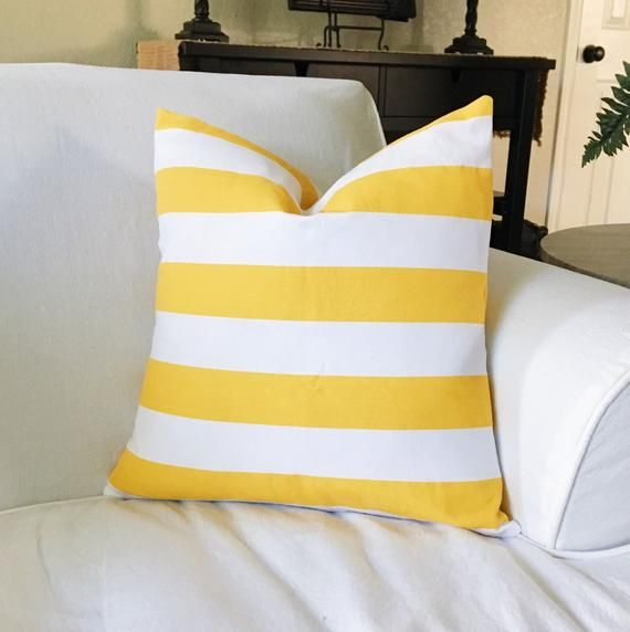 Yellow And White Striped Decorative Throw Pillow Cover Give Your