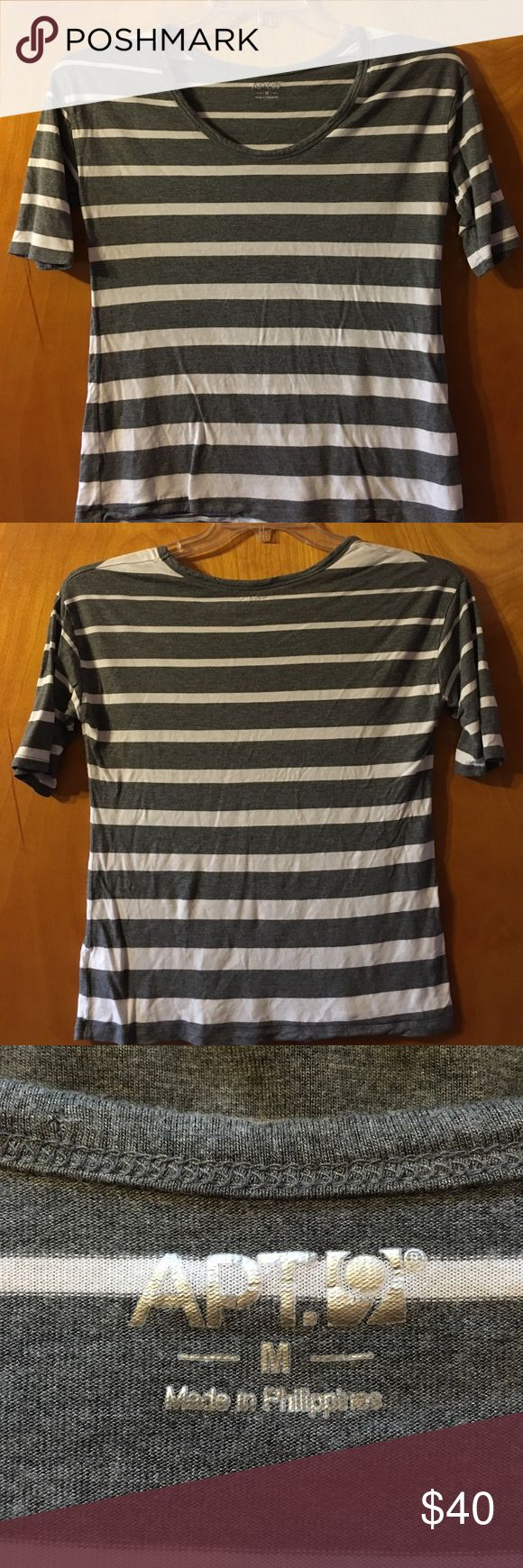 EUC Apt 9 Rayon Short Sleeve Easy Care Tee Shirt NWOT Apt Apartment 9 ladies medium short sleeve 100% rayon gray and white striped T-shirt. Super easy to care for was washed and hung in closet. Never worn. No trades modeling or comment negotiations thank you Apt. 9 Tops Tees - Short Sleeve