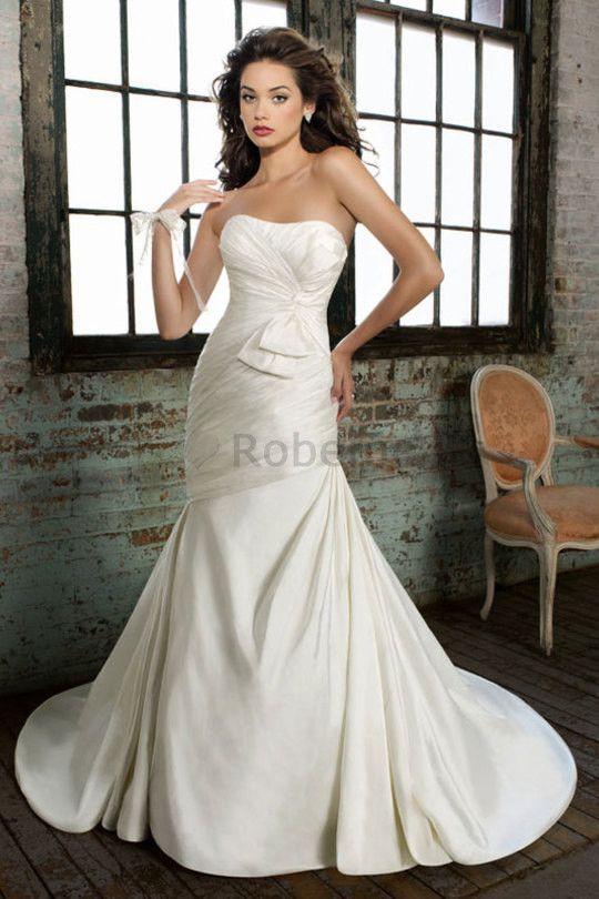 Robe de mariée charmeuse moderne manche nulle a-ligne en chute