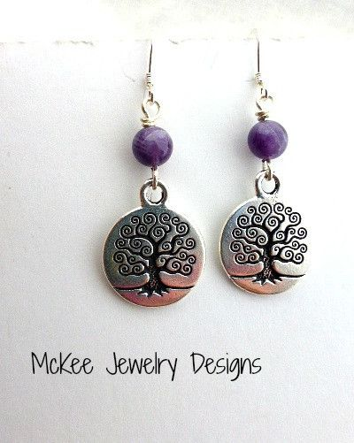 Tree of life sterling silver charms and purple amethyst gemstone earrings. McKee Jewelry Designs