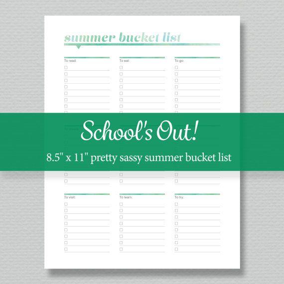 Summer Bucket List Printable - Editable PDF - Digital Download - Standard Letter Size